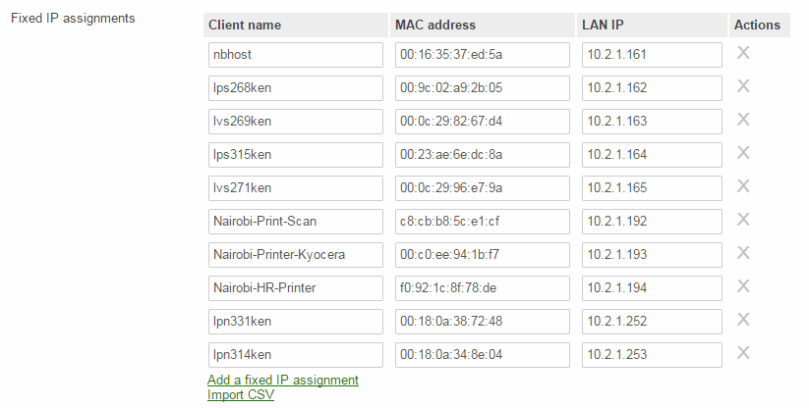 Meraki DHCP Fixed Assignments