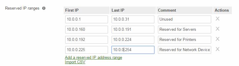 Meraki DHCP Reserved Range